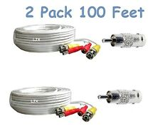2 PACK 100 Feet Video Power BNC RCA Cable for Swann HD,SDI CCTV Security Cameras