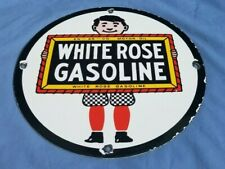 VINTAGE WHITE ROSE GASOLINE PORCELAIN SERVICE STATION PUMP PLATE OIL RACK SIGN