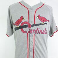 ST LOUIS CARDINALS SGA RETRO GRAY BUTTON UP BASEBALL JERSEY SZ XL GIVEAWAY AT&T