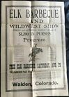 Colorado / ELK BARBECUE / AND / WILDWEST SHOW / FRIDAY AND SATURDAY AUGUST 1925 picture