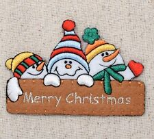 Merry Christmas Sign - Snowman - Iron on Applique/Embroidered Patch