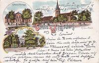 uralte AK Gruss aus Wilmsdorf verschiedene Ansichten 1908 Melzers Gasthaus Litho