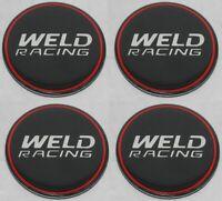 "# SET OF 4 WELD RACING EMBLEM STICKER 2-1/2"" DIAMETER FOR WHEEL RIM CENTER CAPS"