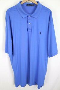 Polo Ralph Lauren Mens sz 3XLT Tall Blue Soft Cotton S/S Shirt w/ Navy Pony