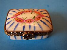 BLUE STRIPED  RECTANGULAR, authentic FRENCH LIMOGES BOX ( NEW )