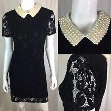 $250 Betsey Johnson Women's 8 Black Lace Pearl Beaded Flare Collar Shirt Dress
