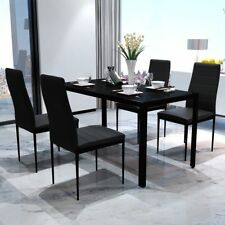 Modern Glass Dining Table and 4  Faux Leather Chairs Set Kitchen Furniture