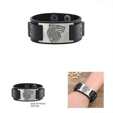 Pagan Celtic Knot Wolf Fenrir Crafts Connector Leather Cuff Bracelet Men Jewelry