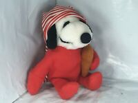 Rare Peanuts Snoopy Plush Stuffed w/ Red Pajamas & Striped Cap & Teddy Bear 11""