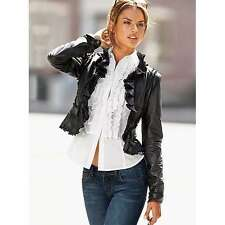 NEW Victoria's Secret MODA Cropped Ruffle Leather Jacket