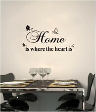 HOME IS WHERE HEART MURAL DECAL WALL PAPER STICKER ART VINYL PROVERB DECOR UK