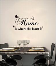 HOME IS WHERE HEART DECAL MURAL WALL PAPER STICKER ART VINYL PROVERB DECOR UK