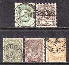 BELGIUM #32,55-58, 1869-86 LOT/5, F-VF, USED