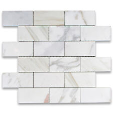 "G64XH Calacatta Gold Marble 2""x4"" Brick Subway Offset Mosaic Tile Honed"
