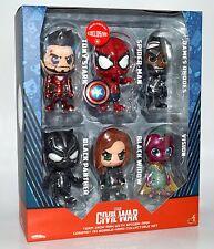 Hot Toys Cosbaby Civil War Ironman Spiderman Rhodes Collectible Set 6 Figure