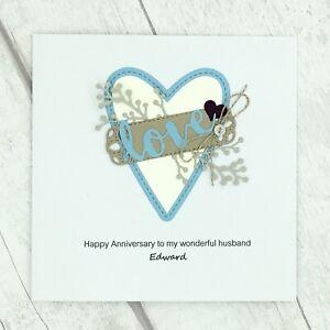 Handmade Personalised Husband Anniversary Card - Love