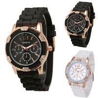 Womens Watch Quartz Silicone Analog Chronograph Crystal Bezel Ladies Wrist Watch