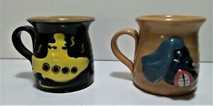 Handmade Ugly Mug Pottery Yellow Submarine  Beatles Story Liverpool Mugs 1990s