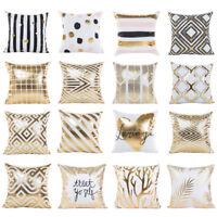 Home Decor Gold Foil Print Pillow Case Bed Car Waist Throw Cushion Cover Case YO