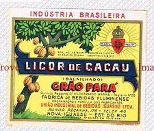 1940s BRASIL Nova Iguassu Bebidas Iguassu LICOR DE CACAO Grao Para Label