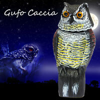 Rotating Head Owl Scarecrow Decoy Garden Protection Repellent Bird Rodent Scarer