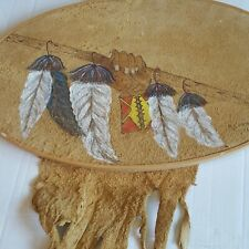 Southwest Wall Hanging Hand Painted Staff w/Feathers on Leather