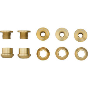 Wolf Tooth Components 1x 6mm Chainring Bolt Gold Set of 5 Dual Hex Fittings