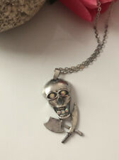 Silver Plated Skull&Cross-bones with Rhinestones on Silver Plated Chain #138