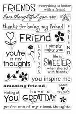 Friends Card Sentiments Poly Clear Acrylic Stamp Set by Hero Arts CL351 NEW!