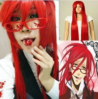 Black Butler Grell Sutcliff Cosplay Wig + glasses + Free Wigs Cap