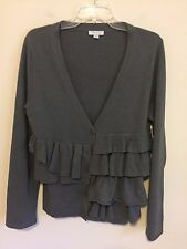 7611)  GARNET HILL sz M gray wool cardigan sweater ruffle front fitted