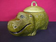 Doranne of CA Smiling Green Hippo Retro Vintage Cookie Jar Excellent Condition