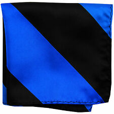 New men's polyester stripes pocket square hankie handkerchief royal blue black