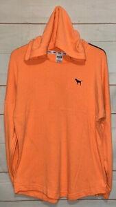 Victoria's Secret PINK Hoodie Shirt Wide Neck LS Hooded Sweatshirt Orange Medium