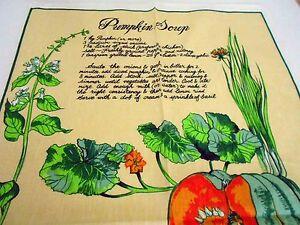 Vintage Teatowel 'Pumpkin Soup' Linen Cotton blend by Ross Australia Brand New