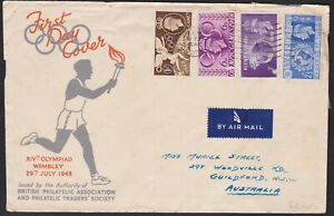1948 UK GB KGVI Olympic Games FDC WEMBLEY CDS Torch Relay Cachet