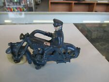 """Vintage 1930s Hubley Cast Iron Champion Motorcycle w/5"""" Harley? Policeman"""