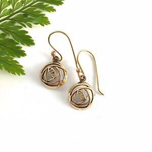 Small Gold Charles Rennie Mackintosh Rose Earrings on Hooks Art Nouveau