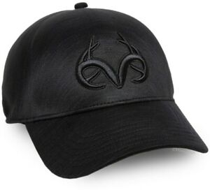 Embroidered Realtree Deerskull Logo Black Cap with Seam Free Construction