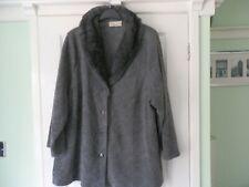 Ann Harvey Size 28 Grey & Black Fleece Look Jacket & Faux Fur Collar. Pre Owned