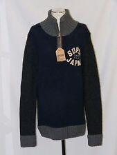 Awesome! NWT SUPERDRY JAPAN thick WOOL 1/2 ZIP WIDE COLLAR SWEATER SZ LARGE