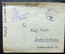1943 Germany Feldpost to Dachau Concentration Camp Nurse KZ Cover with Letter