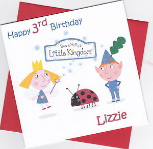 Personalised Handmade Ben & Holly's Little Kingdom 1st, 2nd, 3rd Birthday Card