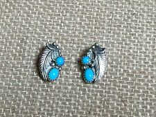 """Navajo Robert Becenti """"Turquoise"""" Clip On Earrings Sterling Silver Signed RB"""
