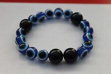 Acrylic 10mm Smooth Round Blue Eyed Bead  Elastic Bracelet