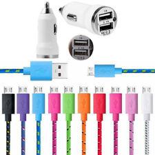 Dual USB Car Charger + Braided Micro USB Cable fits Samsung Galaxy A3 A5 J1 J5