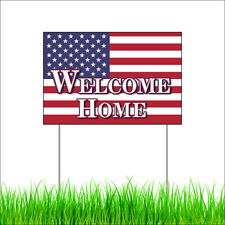 Welcome Home Corrugated Plastic Yard Sign Outdoor Lawn Garden Sign+Metal Stakes