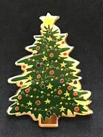 Vintage Enamel Christmas Xmas Holiday Tree Pin Tack Brooch