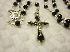 Lovely Handmade Black Beaded Rosary w/ tiny glass pearl beads     #R4-10-9