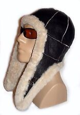 NEW! Sheepskin Bomber - Aviator Hat and Scarf in one Unisex Real Leather COOOL!